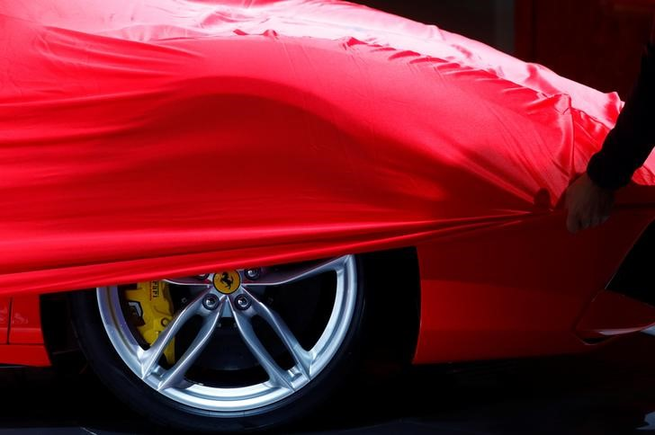 FILE PHOTO: A partially covered Ferrari