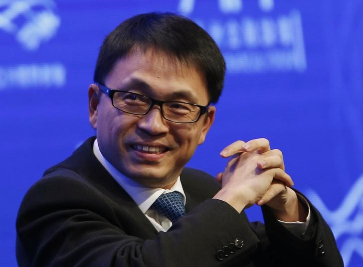 Zhang Lei, chairman and chief executive of Hillhouse Capital Management Group, attends a panel discussion at the Asian Financial Forum in Hong Kong