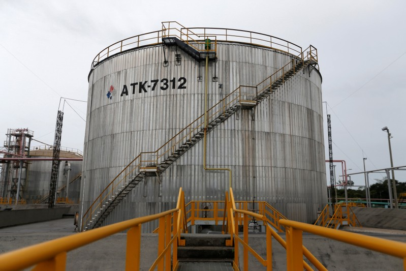 FILE PHOTO: Storage tanks are seen at Ecopetrol's Castilla oil rig platform, in Castilla La Nueva