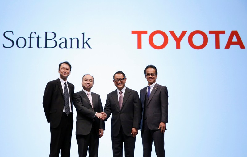 Toyota Motor Corp President Akio Toyoda and SoftBank Group Corp Chairman and CEO Masayoshi Son attend their joint news conference in Tokyo