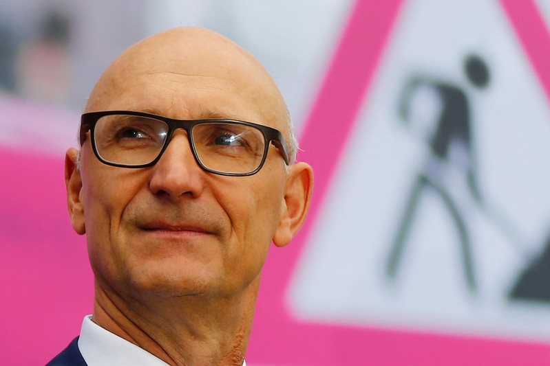 Germany's Deutsche Telekom AG CEO Hoettges poses before the annual shareholders' meeting of the company in Bonn