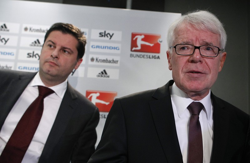 President of the German Soccer Federation Rauball listens during a news conference after DFL meeting in Frankfurt