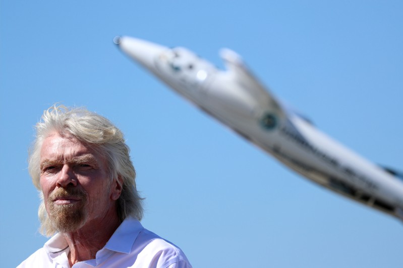 FILE PHOTO:  Branson listens to speeches as he is inducted into the Flight Path Walk of Fame in Los Angeles