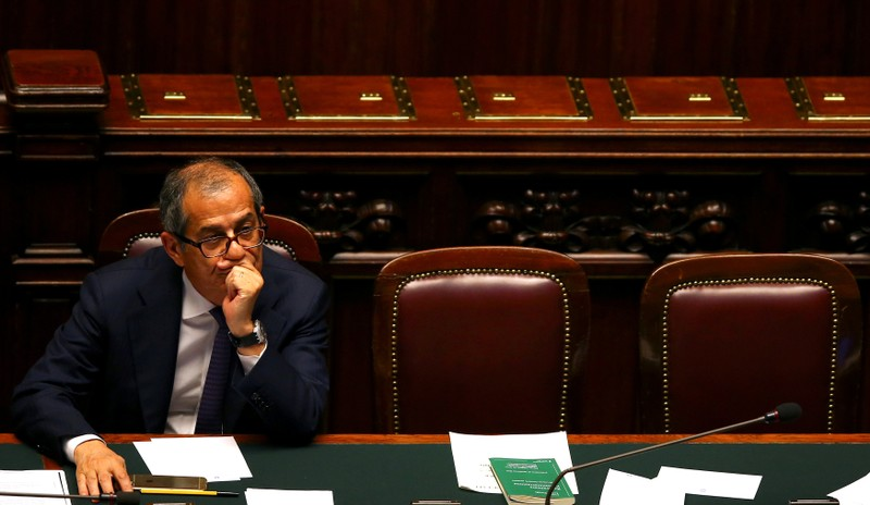 FILE PHOTO: Italian Economy Minister Giovanni Tria attends during his first session at the Lower House of the Parliament in Rome
