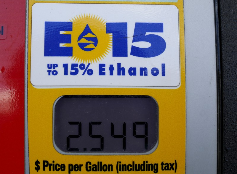 FILE PHOTO: A gas pump displays the price for E15 a gasoline with 15 percent of ethanol at a gas station in Nevada