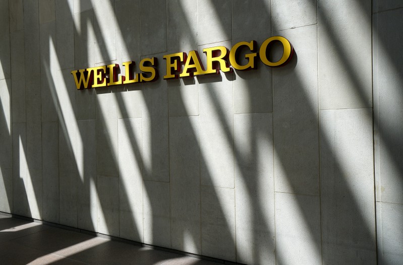 FILE PHOTO: The sign outside the Wells Fargo & Co. bank in downtown Denver