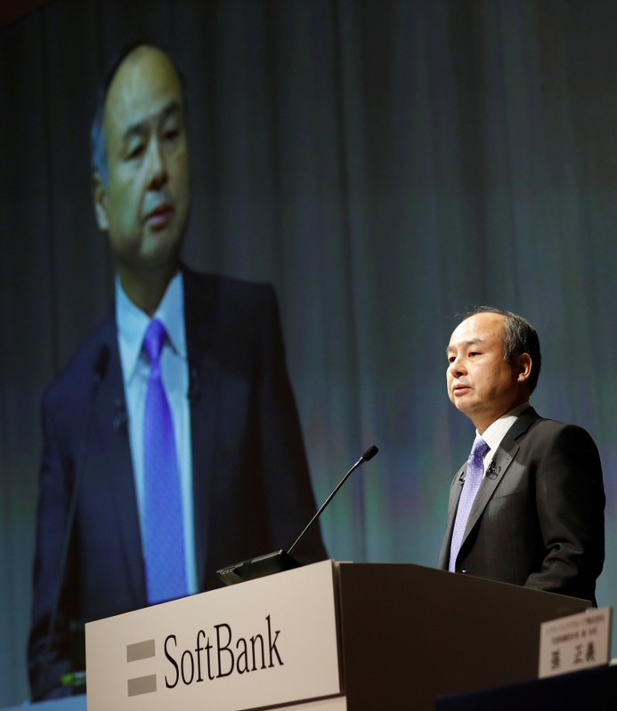 Japan's SoftBank Group Corp Chief Executive Masayoshi Son attends a news conference in Tokyo
