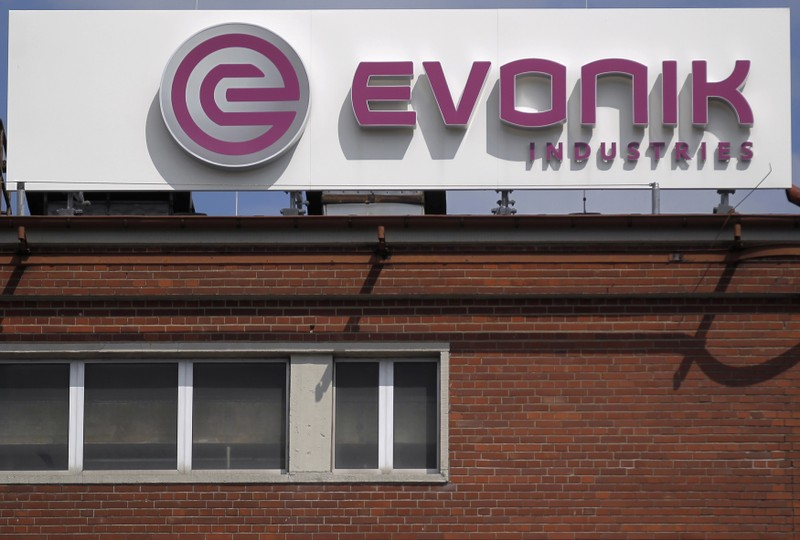 Logo of the specialty chemical manufacturer Evonik Industries is pictured at a factory in Darmstadt