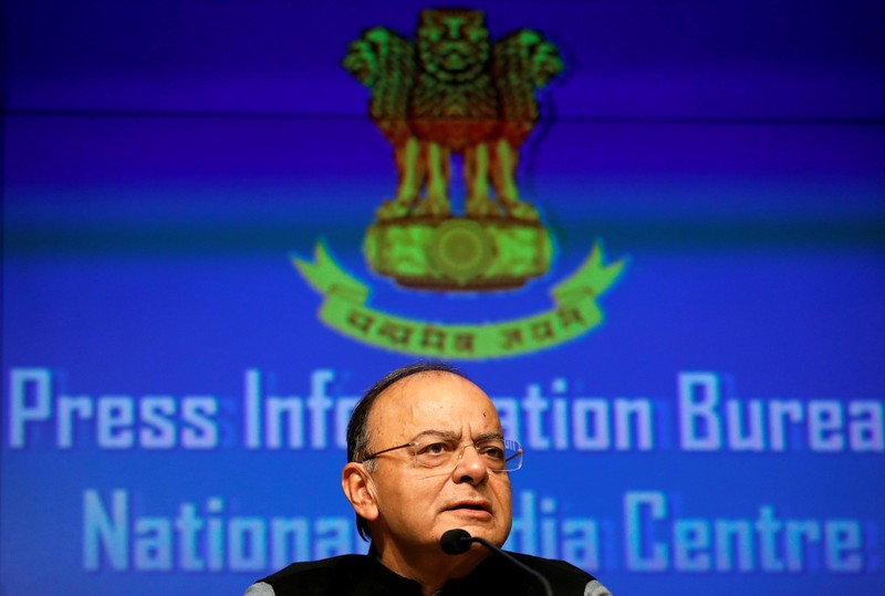 FILE PHOTO: India's Finance Minister Arun Jaitley attends a news conference sharing details about the recapitalisation of public sector banks in New Delhi
