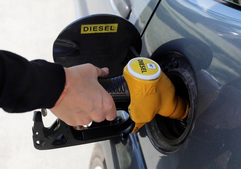 A diesel fuel nozzle with new European labels to standardise gas pumps in the EU zone is seen at a petrol station in Nice