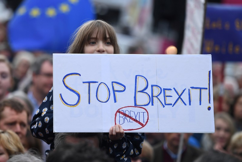 FILE PHOTO: Protesters participate in an anti-Brexit demonstration at City Hall in central Belfast