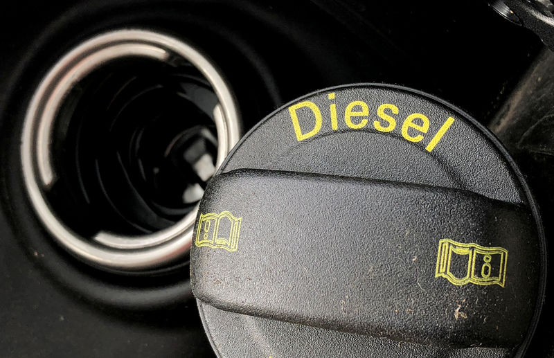 A fuel tank cap of a diesel car is pictured in Berlin