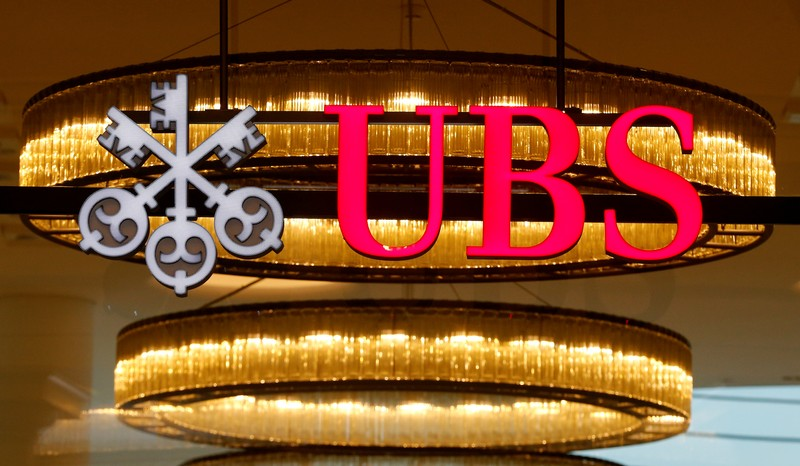 FILE PHOTO: The logo of Swiss bank UBS is seen at a branch office in Basel