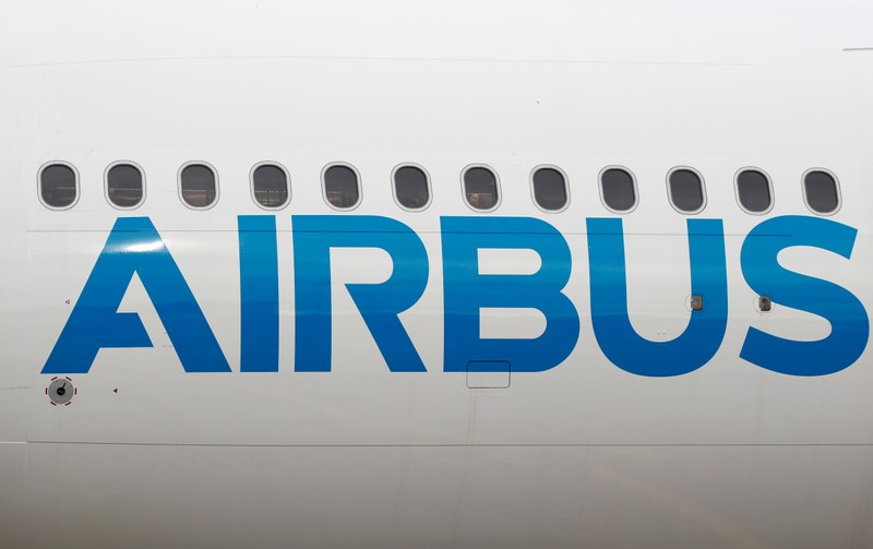 The logo of Airbus is seen on an Airbus A330-800 aircraft after a flight event presentation in Colomiers near Toulouse