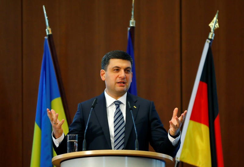 German Chancellor Angela Merkel and Ukrainian Prime Minister Volodymyr Groysman attend the German-Ukrainian Business Forum conference in Berlin
