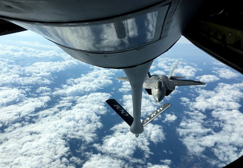 U.S. Air Force F-22 stealth fighter jet receives fuel mid-air over Norway