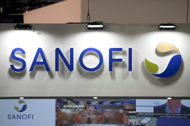 The logo of Sanofi is pictured during the Viva Tech start-up and technology summit in Paris