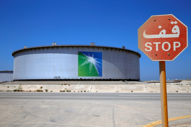 An Aramco tank is seen at Saudi Aramco's Ras Tanura oil refinery and oil terminal
