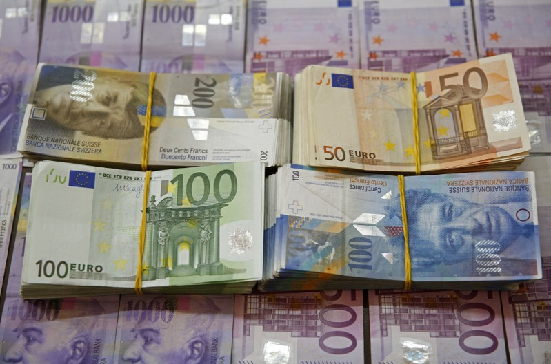 A picture illustration of Swiss Franc and Euro banknotes taken in central Bosnian town of Zenica