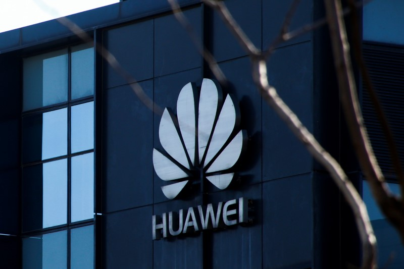 The company logo is seen at the office of Huawei in Beijing