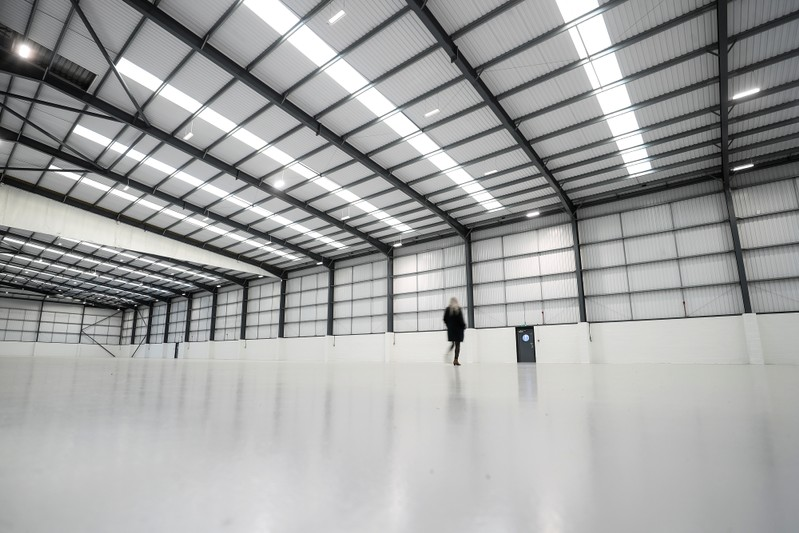 An empty warehouse known as Cargo 777 stands on the Poyle Trading Estate near Heathrow in London