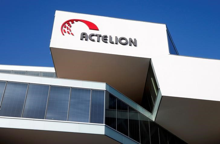 FILE PHOTO:  The company's logo is seen at the headquarters of Swiss biotech company Actelion in Allschwil