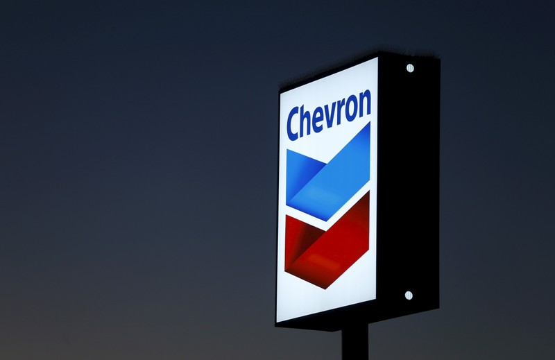 File photo of a Chevron gas station sign in Cardiff, California