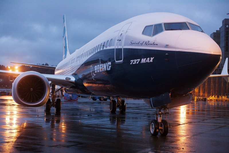 A Boeing 737 MAX 8 sits outside the hangar during a media tour of the Boeing 737 MAX at the Boeing plant in Renton