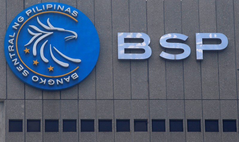A logo of Bangko Sentral ng Pilipinas is seen at their main building in Manila