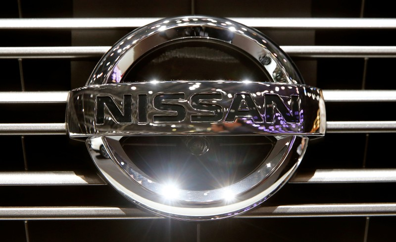 The logo of Nissan is seen during the 87th International Motor Show at Palexpo in Geneva
