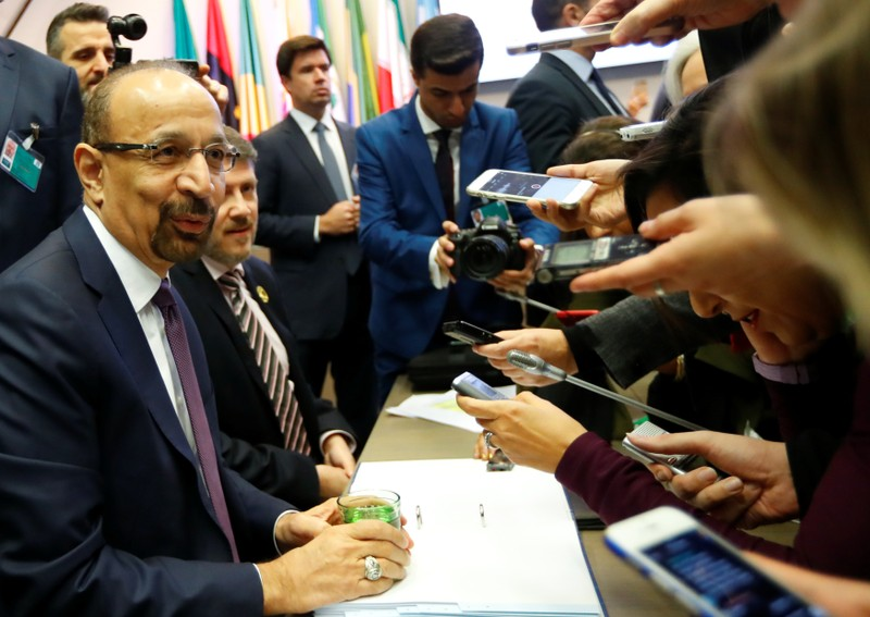 Saudi Arabia's Oil Minister al-Falih talks to journalists at the beginning of an OPEC meeting in Vienna