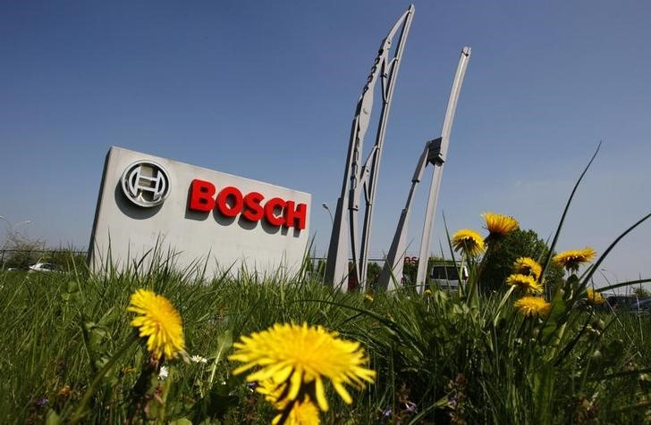 FILE PHOTO:  View of the entrance of German automotive parts manufacturer Robert Bosch Belgian plant in Tienen