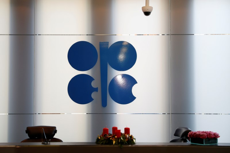 FILE PHOTO: The logo of the Organization of the Petroleum Exporting Countries (OPEC) is seen inside their headquarters in Vienna