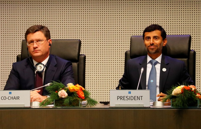 Russian Energy Minister Novak and UAE's Oil Minister Al Mazrouei attend a meeting in the OPEC headquarters in Vienna