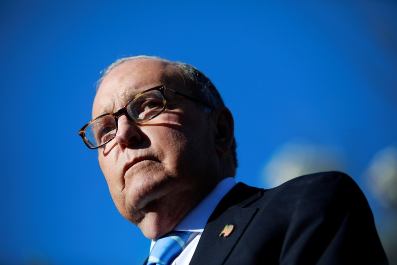 FILE PHOTO:  White House economic adviser Larry Kudlow listens to a question from the media outside the White House in Washington