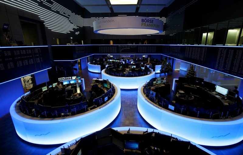 The trading floor of Frankfurt's stock exchange is pictured after the last trading day in Frankfurt