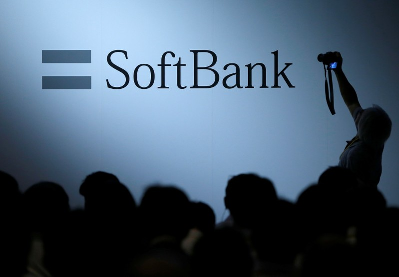 The logo of SoftBank Group Corp is displayed at SoftBank World 2017 conference in Tokyo