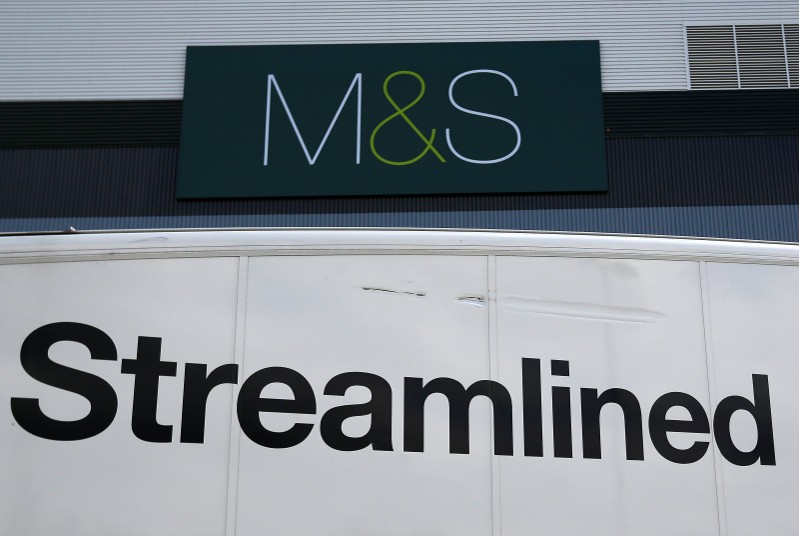 A lorry waits in the dispatch area at the new Marks & Spencer e-commerce distribution centre in Castle Donington