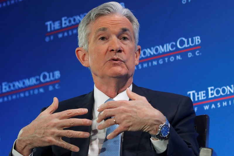 U.S. Federal Reserve Board Chairman Powell participates in a discussion in Washington