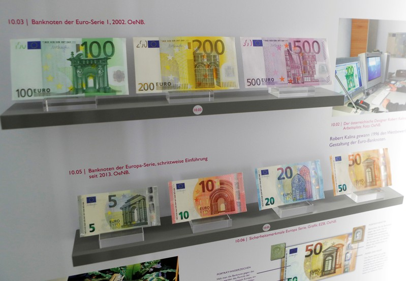 Euro bank notes are exhibited at Austrian central bank's Money Museum in Vienna
