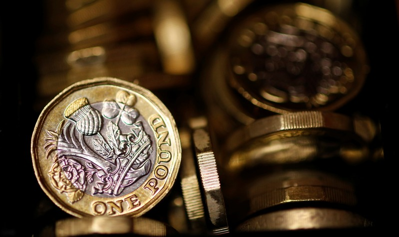 FILE PHOTO: Pound coins are seen in this photo illustration taken in Manchester, Britain