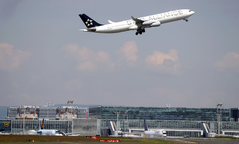A plane of Germany's air carrier Lufthansa takes off at Fraport airport in Frankfurt