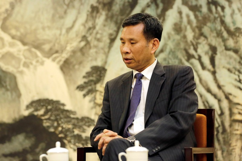 Chinese Finance Minister Liu Kun speaks during an interview with Reuters in Beijing