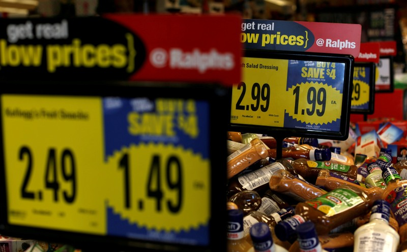 FILE PHOTO: Price tags are pictured at a Ralphs grocery store, which is owned by Kroger Co, ahead of company results in Pasadena