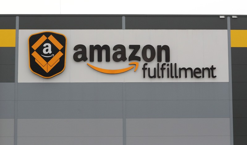 A logo of the Amazon fulfillment is seen outside the Amazon fulfillment center in the village of Dobroviz, near Prague