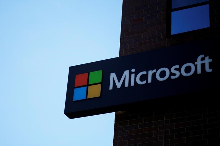FILE PHOTO: A Microsoft sign at the Microsoft office in Cambridge