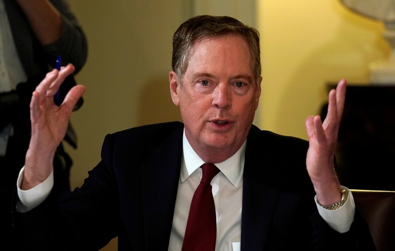 U.S. Trade Representative Robert Lighthizer speaks at the White House in Washington