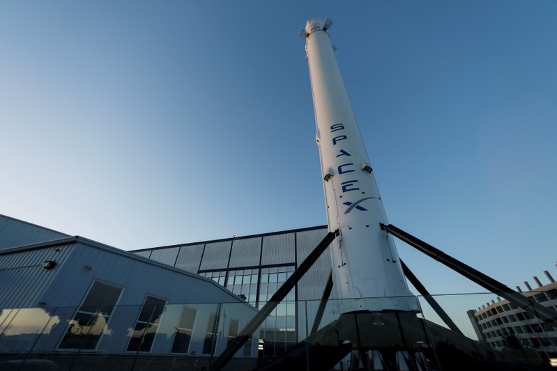 FILE PHOTO: SpaceX headquarters is shown in Hawthorne, California.