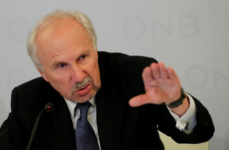 FILE PHOTO: OeNB Governor Nowotny addresses a news conference in Vienna