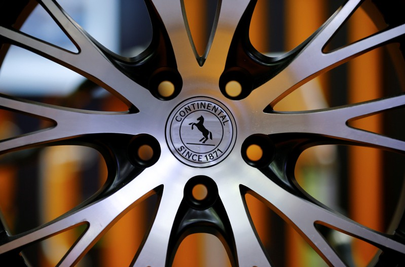 FILE PHOTO - The logo of Continental is pictured on a rim in Hanover